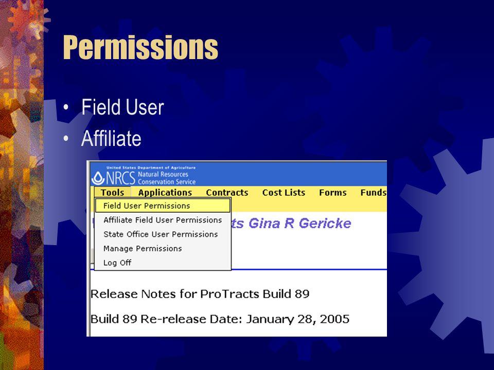 Permissions Field User Affiliate