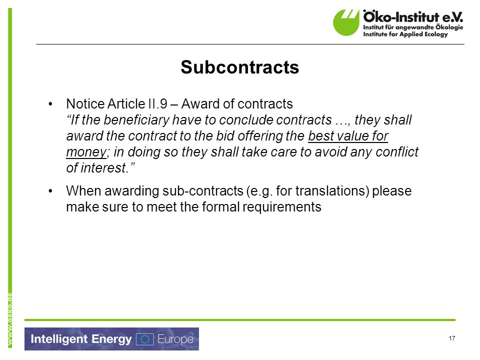 Subcontracts
