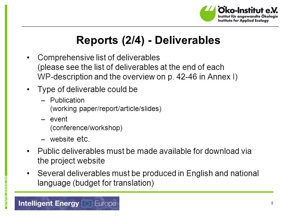 Reports (2/4) - Deliverables