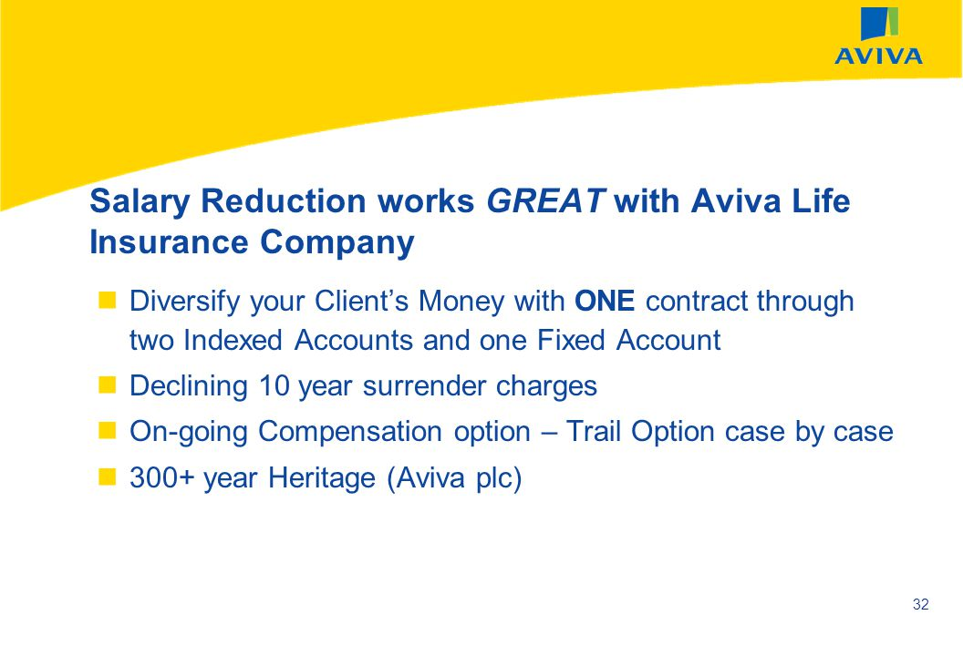 Salary Reduction works GREAT with Aviva Life Insurance Company