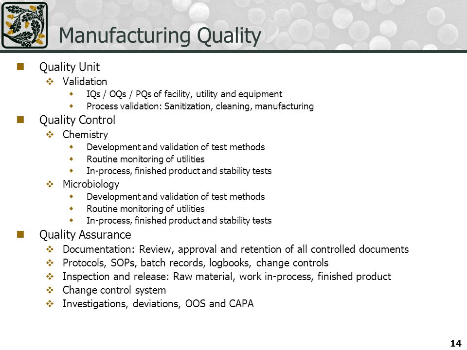 Manufacturing Quality
