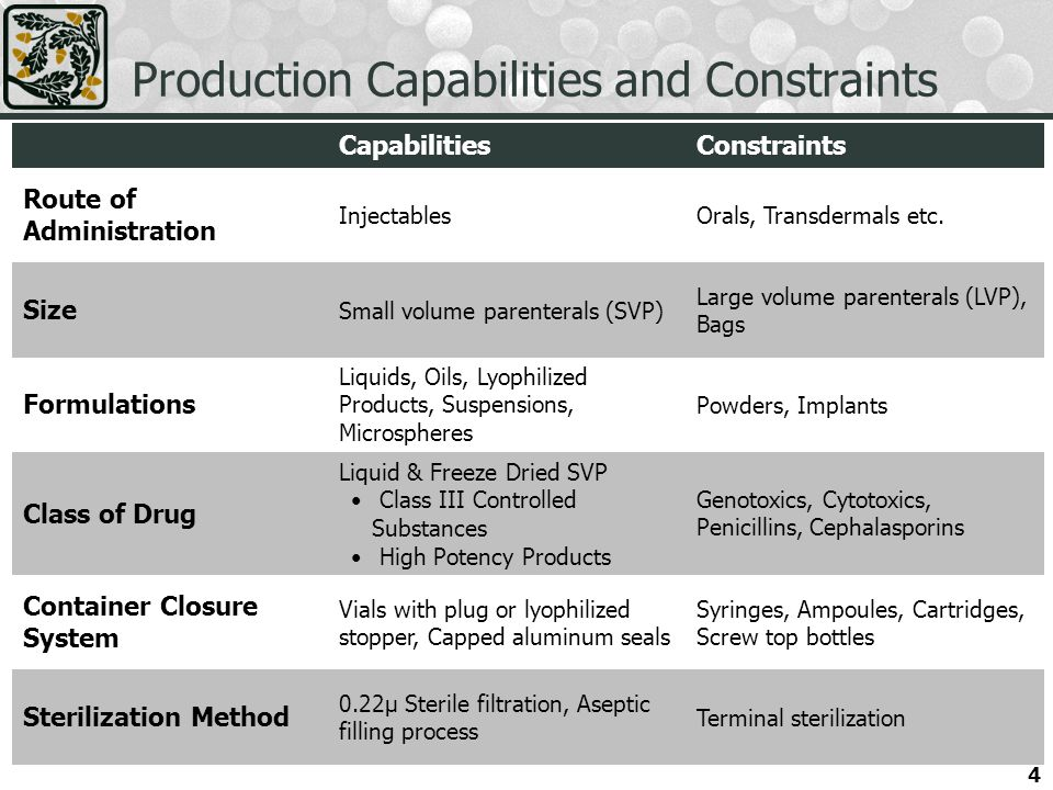 Production Capabilities and Constraints