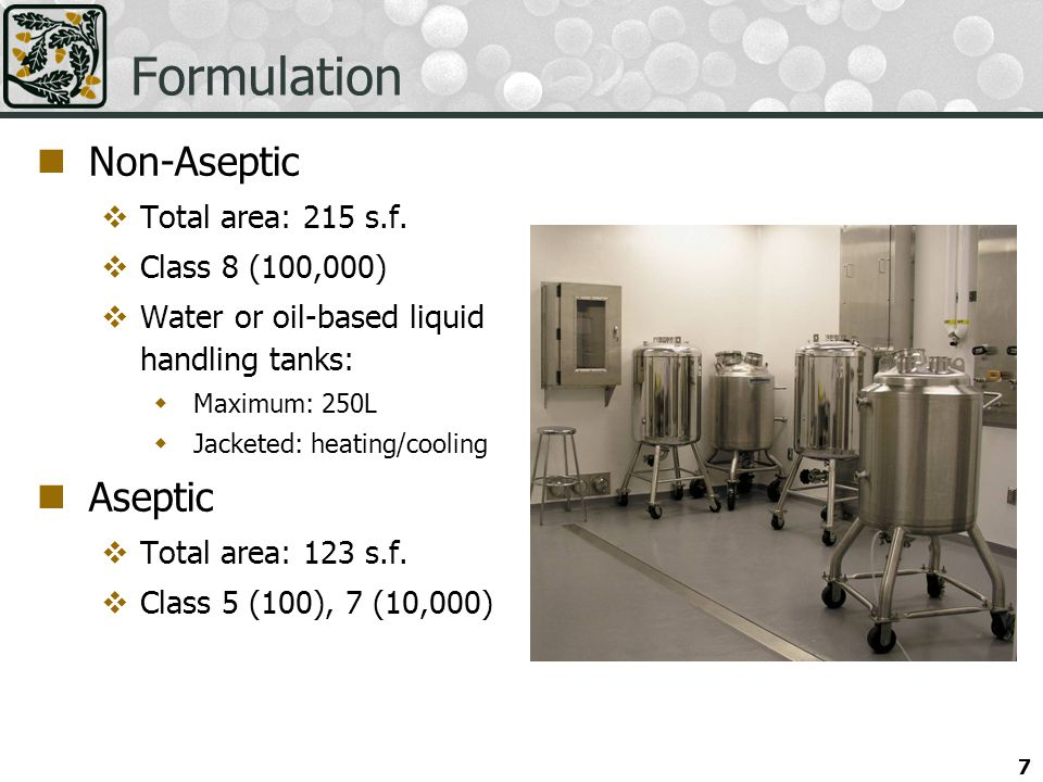 Formulation Non-Aseptic Aseptic Total area: 215 s.f. Class 8 (100,000)