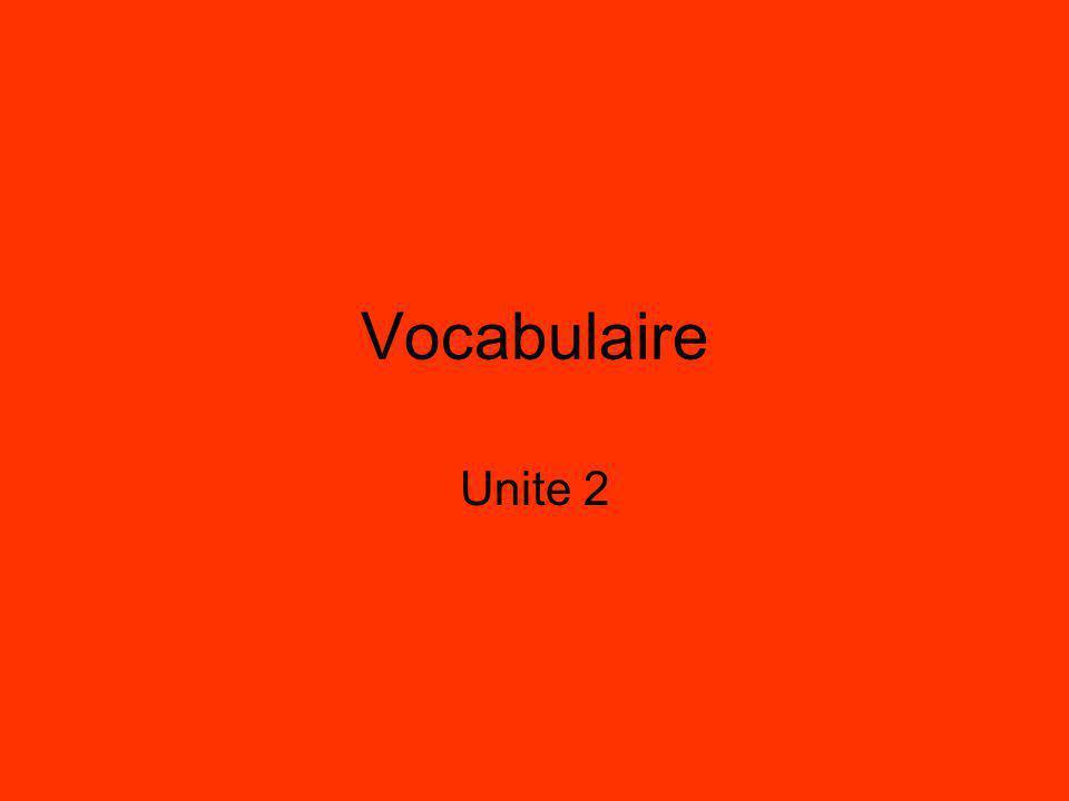 Vocabulaire Unite 2