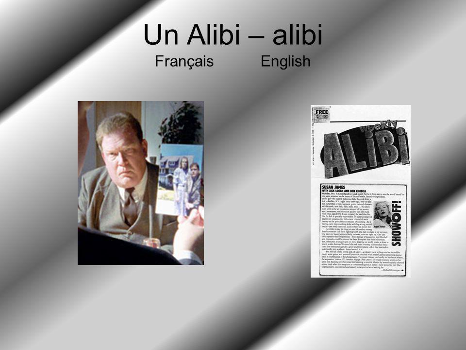 Un Alibi – alibi Français English
