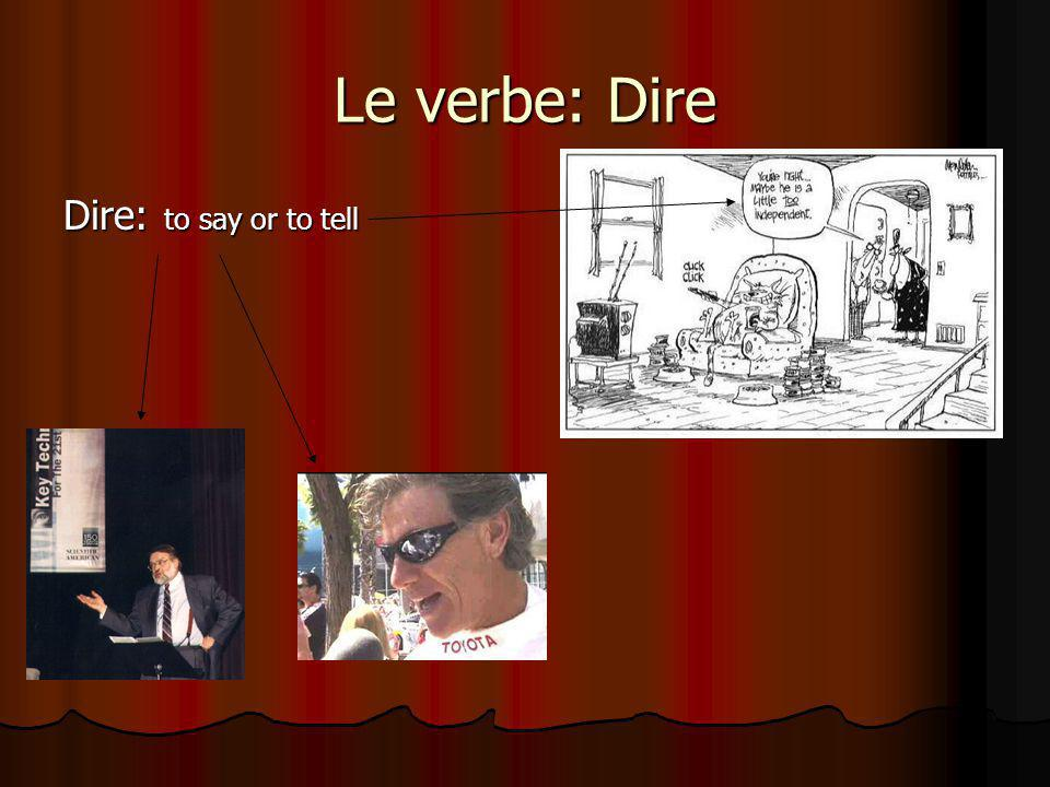 Le verbe: Dire Dire: to say or to tell