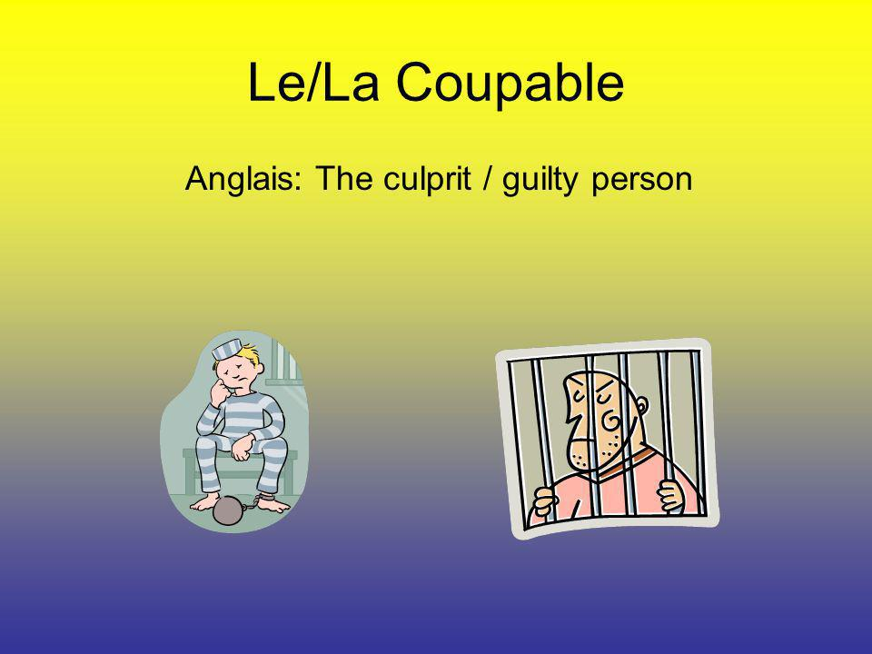 Anglais: The culprit / guilty person