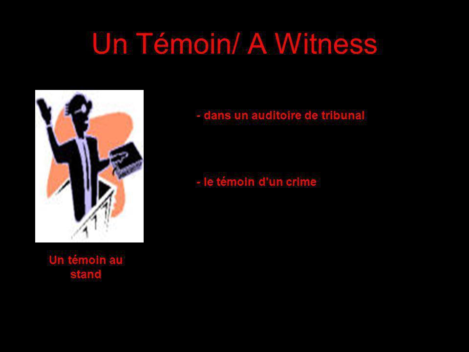 Un Témoin/ A Witness - dans un auditoire de tribunal