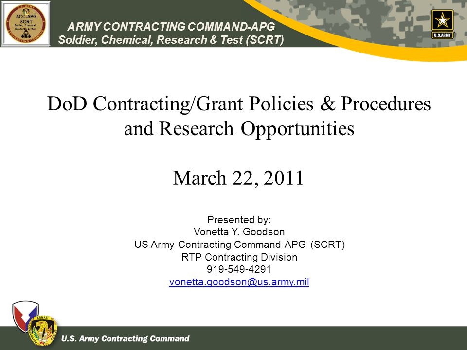 DoD Contracting/Grant Policies & Procedures and Research Opportunities
