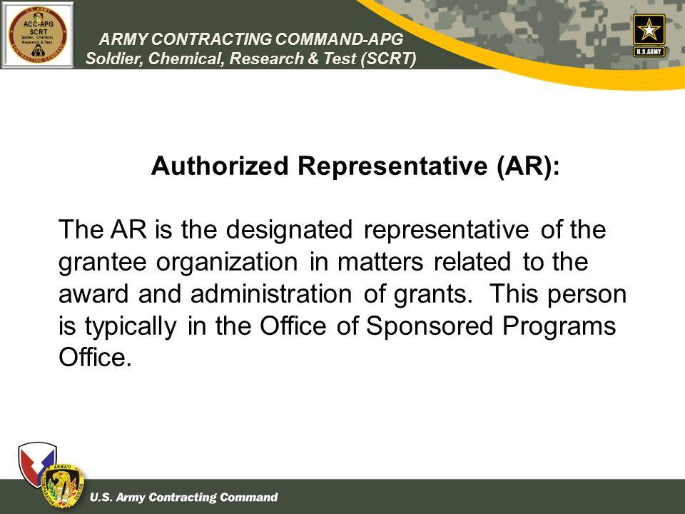 Authorized Representative (AR):