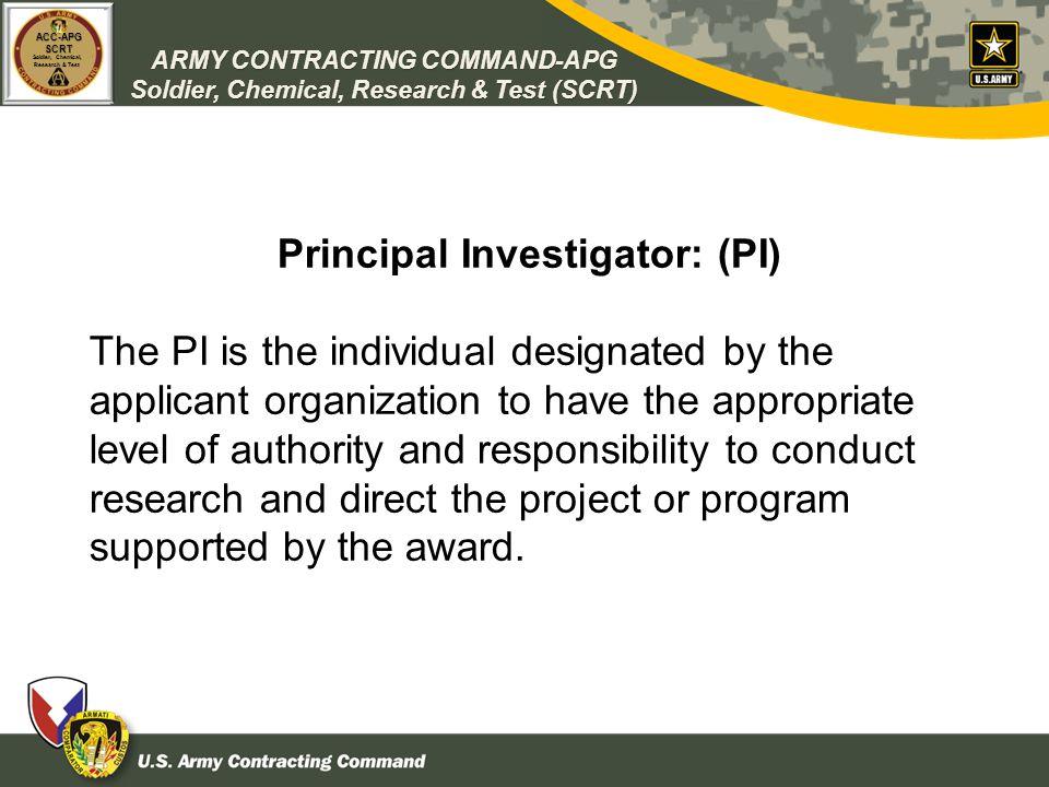 Principal Investigator: (PI)