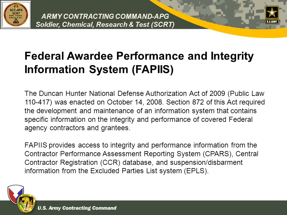 Federal Awardee Performance and Integrity Information System (FAPIIS)