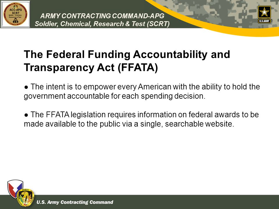 The Federal Funding Accountability and Transparency Act (FFATA)
