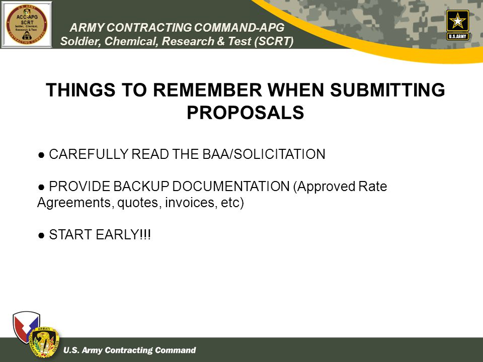 THINGS TO REMEMBER WHEN SUBMITTING PROPOSALS
