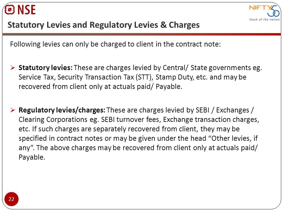 Statutory Levies and Regulatory Levies & Charges
