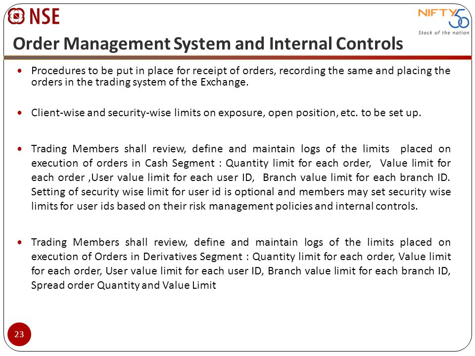 Order Management System and Internal Controls