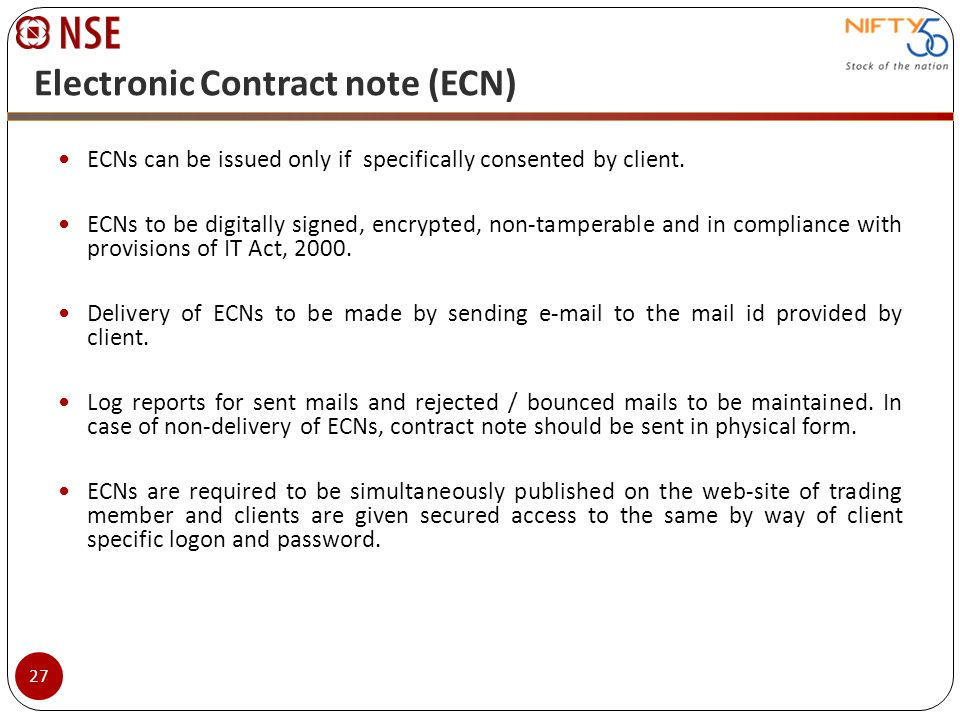 Electronic Contract note (ECN)