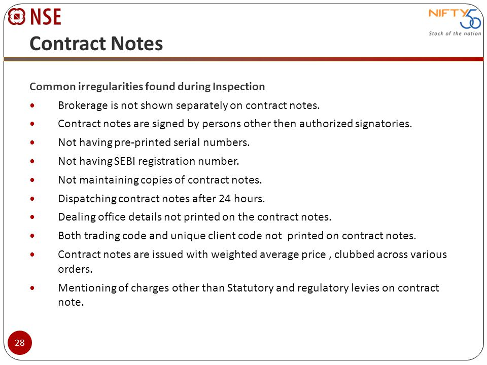 Contract Notes Common irregularities found during Inspection