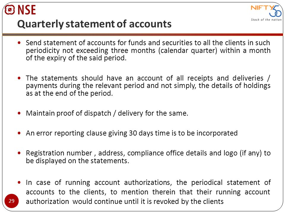 Quarterly statement of accounts