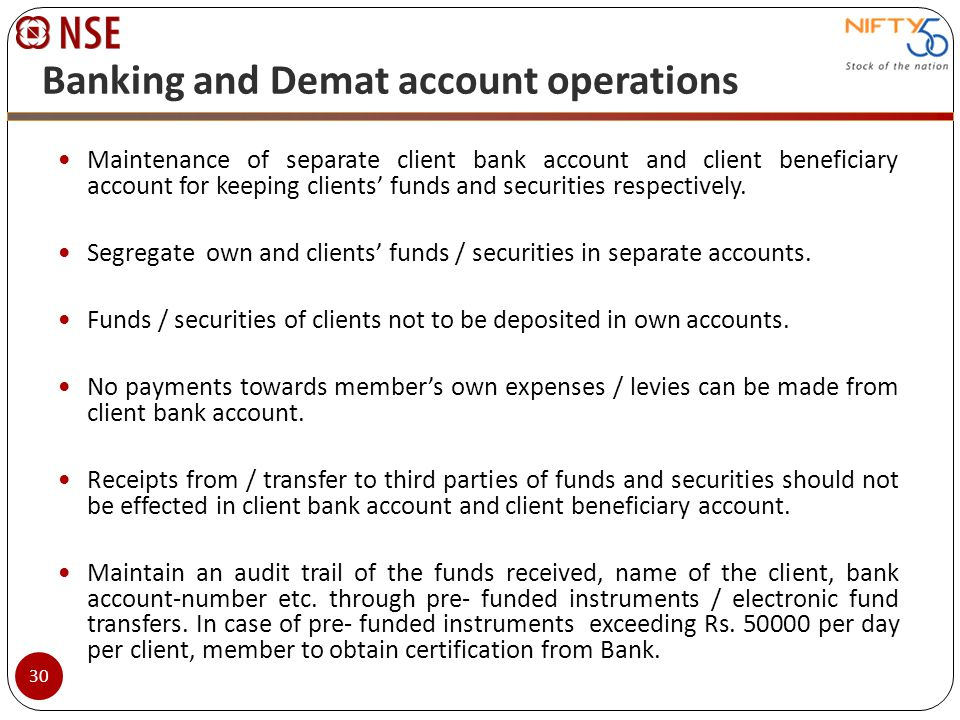 Banking and Demat account operations