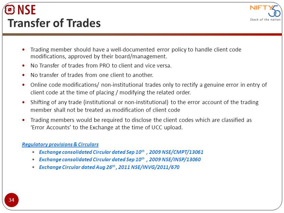Transfer of Trades