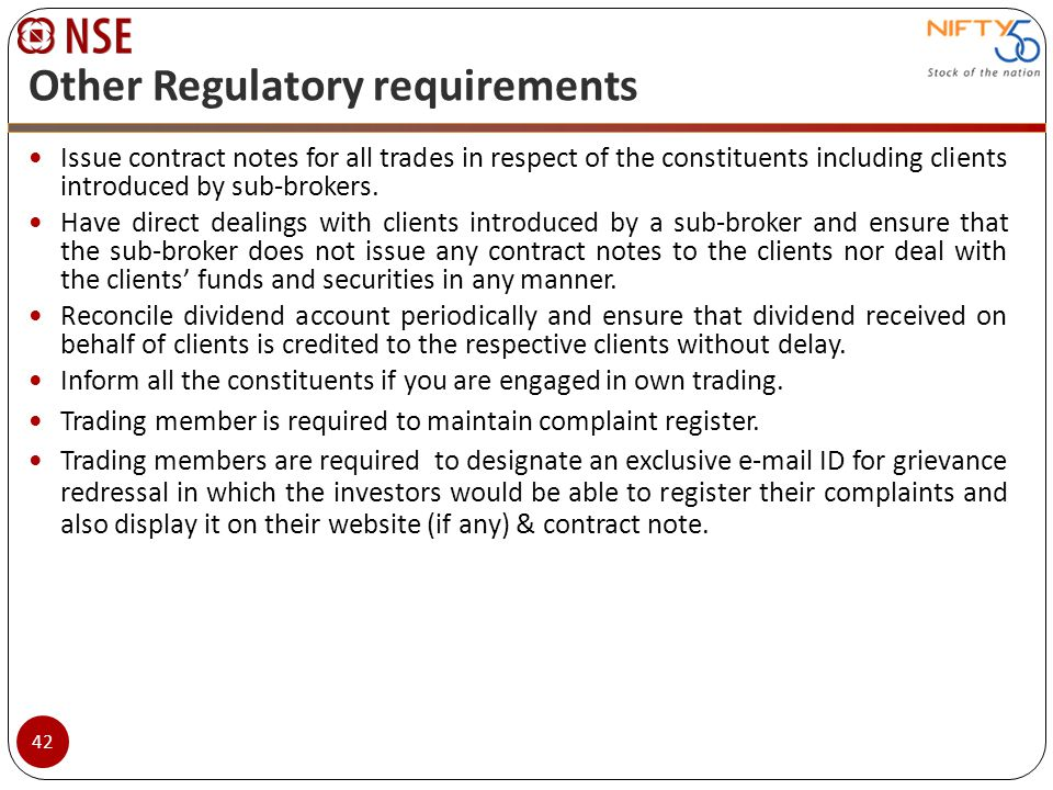 Other Regulatory requirements