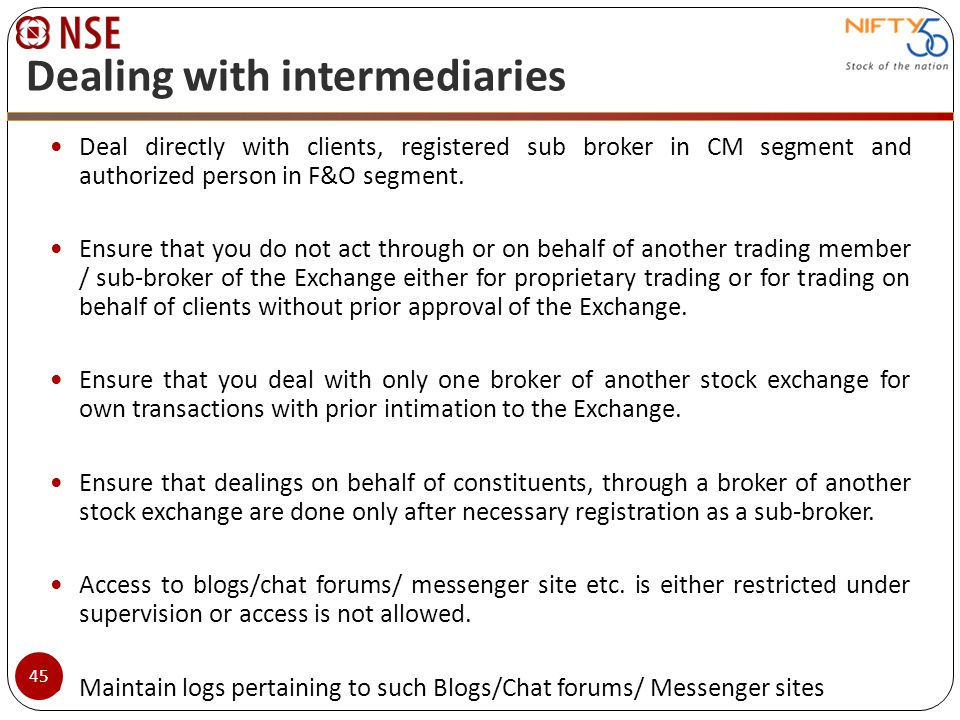 Dealing with intermediaries