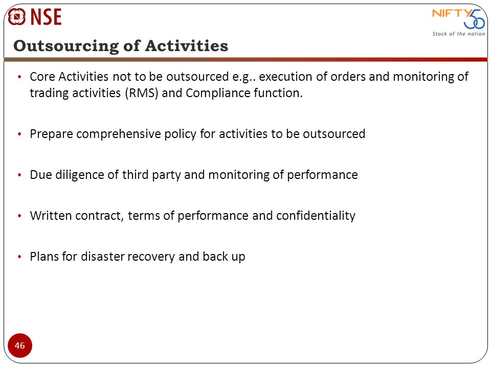 Outsourcing of Activities