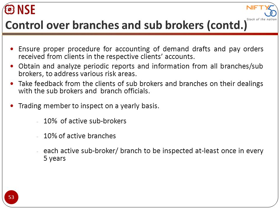 Control over branches and sub brokers (contd.)