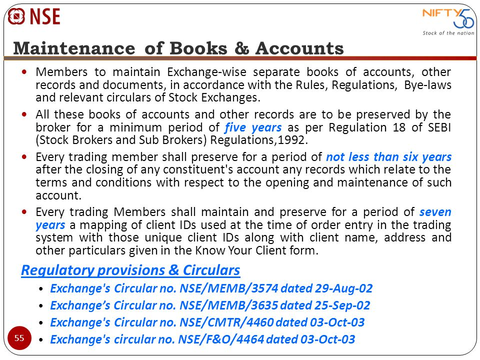 Maintenance of Books & Accounts