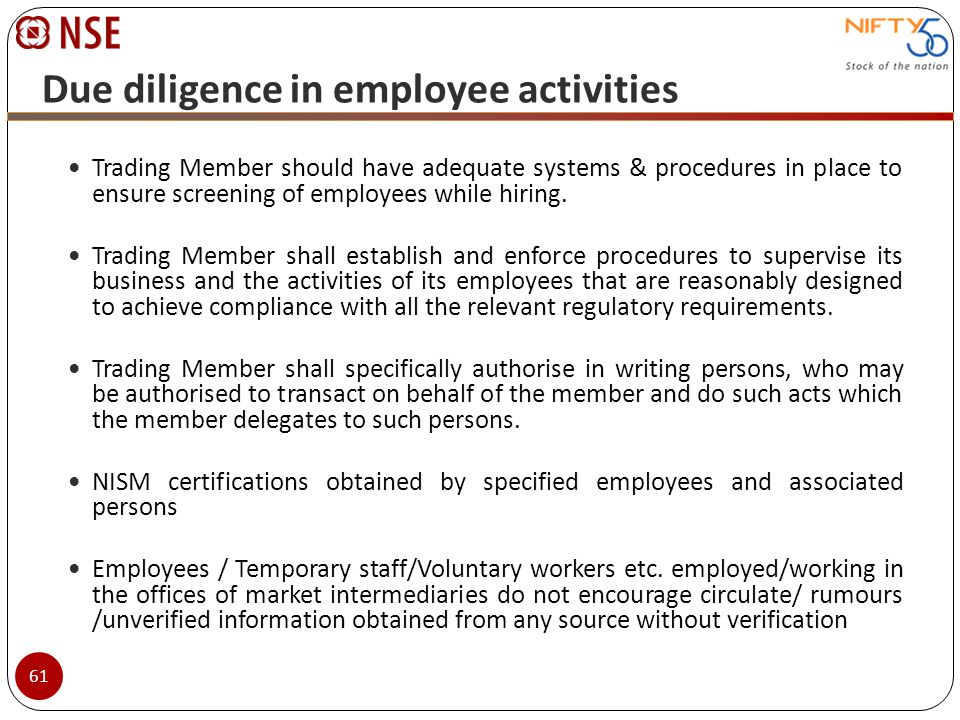 Due diligence in employee activities