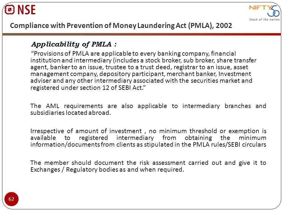 Compliance with Prevention of Money Laundering Act (PMLA), 2002