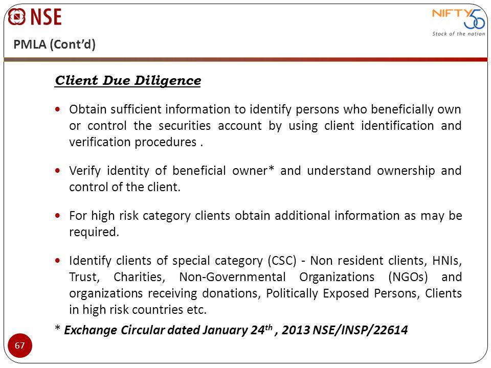 PMLA (Cont'd) Client Due Diligence.