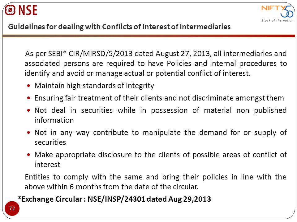 Guidelines for dealing with Conflicts of Interest of Intermediaries