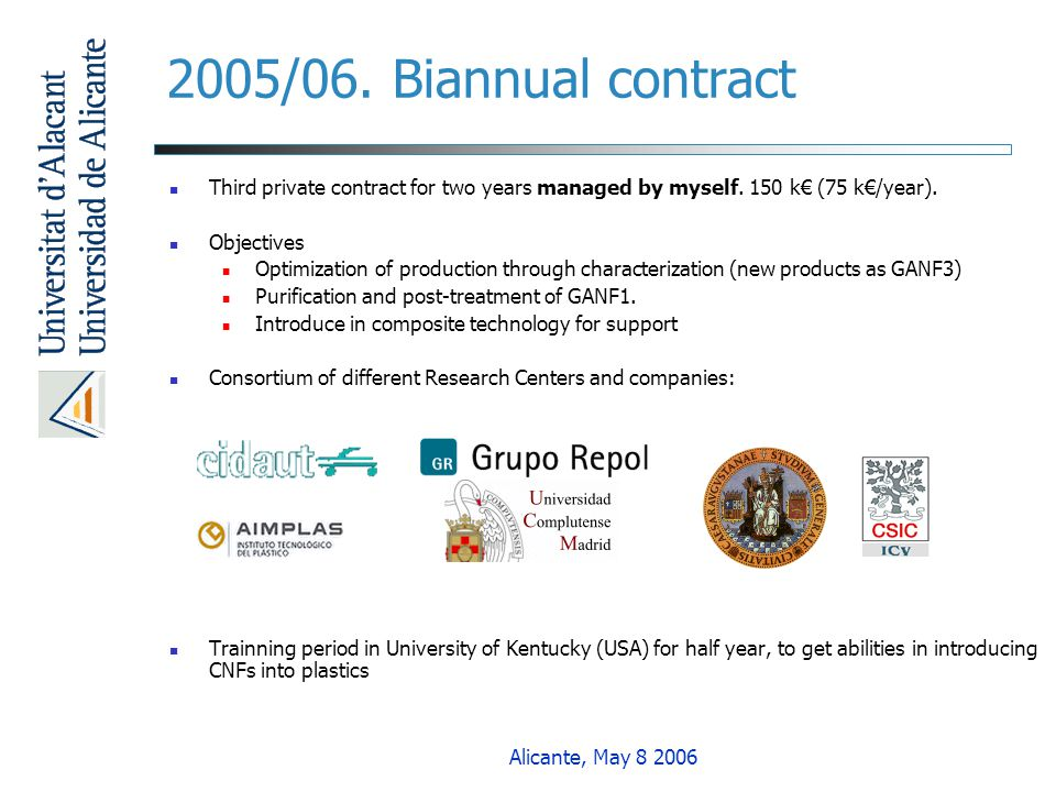 2005/06. Biannual contract Third private contract for two years managed by myself. 150 k€ (75 k€/year).