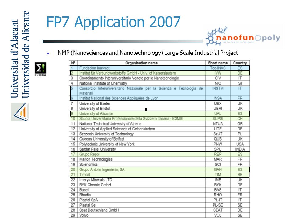 FP7 Application 2007 NMP (Nanosciences and Nanotechnology) Large Scale Industrial Project.
