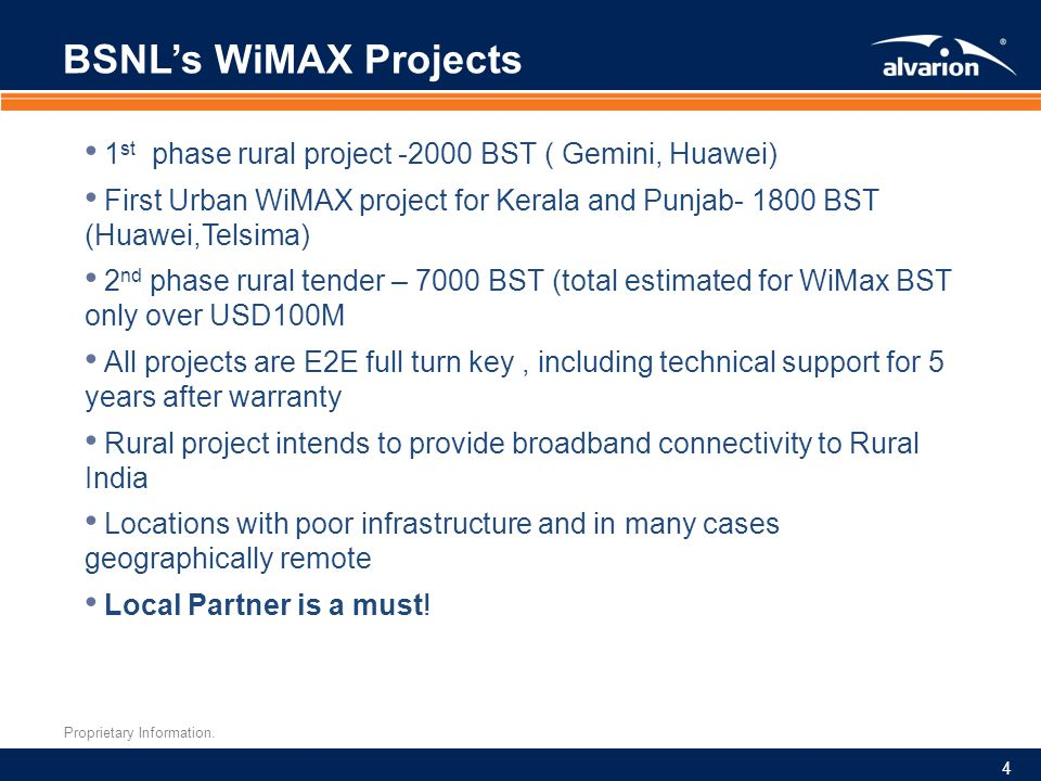 BSNL's WiMAX Projects 1st phase rural project -2000 BST ( Gemini, Huawei)