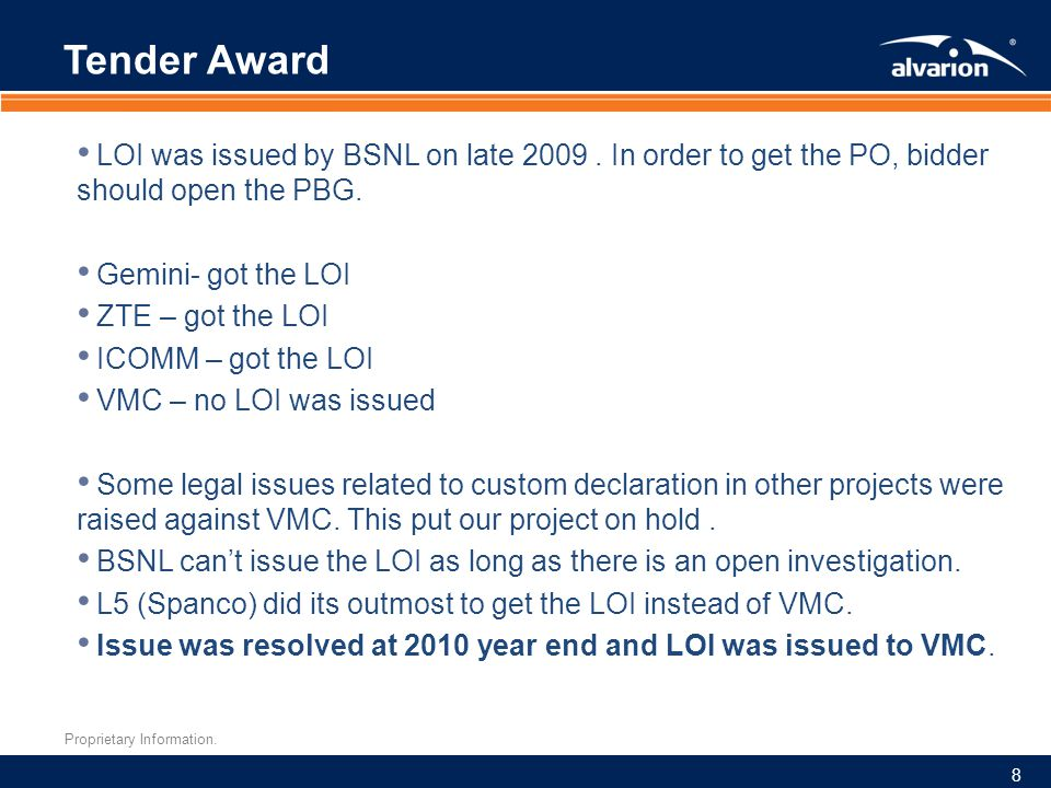 Tender Award LOI was issued by BSNL on late 2009 . In order to get the PO, bidder should open the PBG.