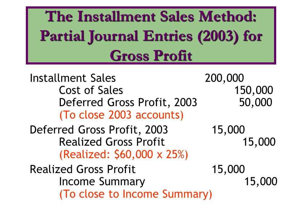 The Installment Sales Method: Partial Journal Entries (2003) for Gross Profit