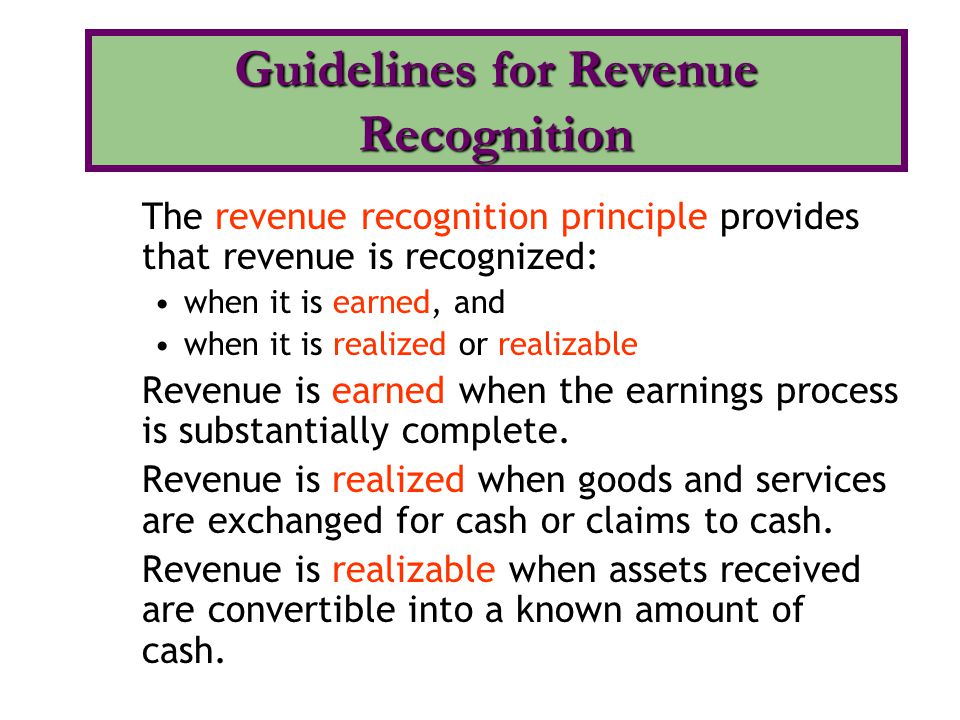 Guidelines for Revenue Recognition