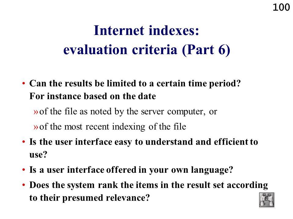 Internet indexes: evaluation criteria (Part 6)