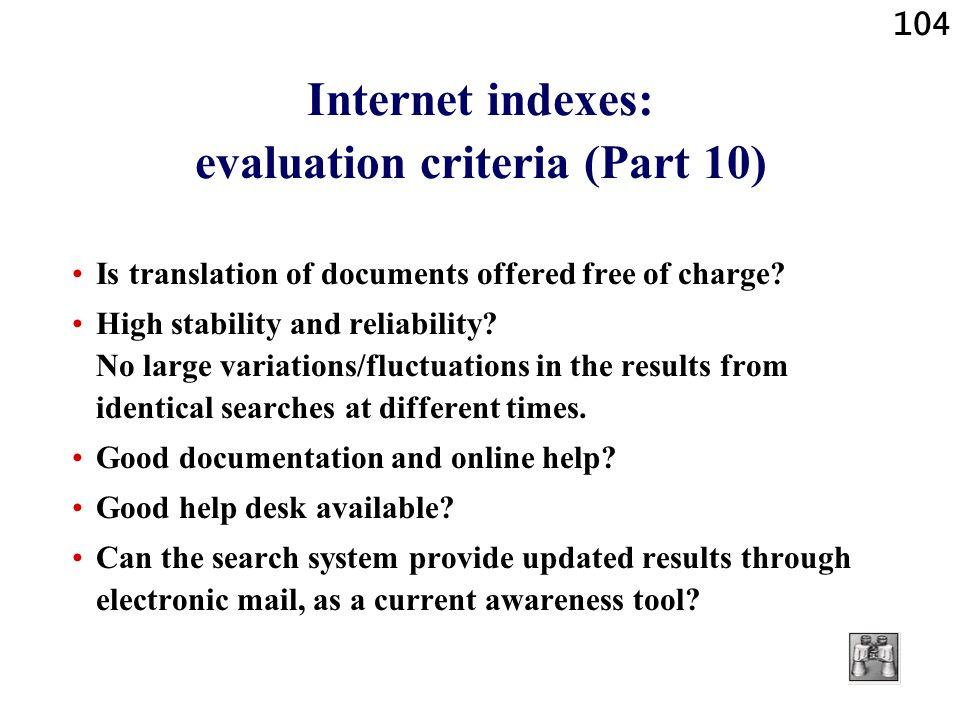 Internet indexes: evaluation criteria (Part 10)