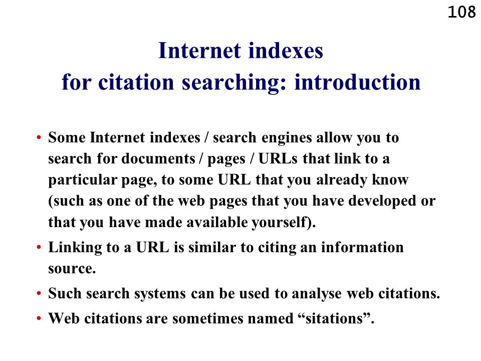 Internet indexes for citation searching: introduction