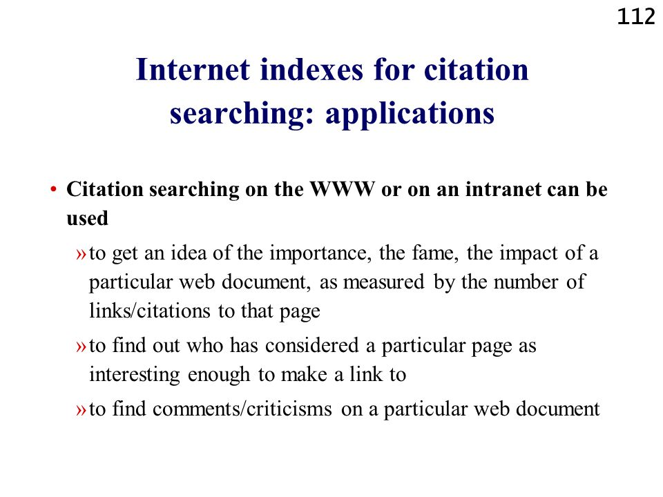Internet indexes for citation searching: applications