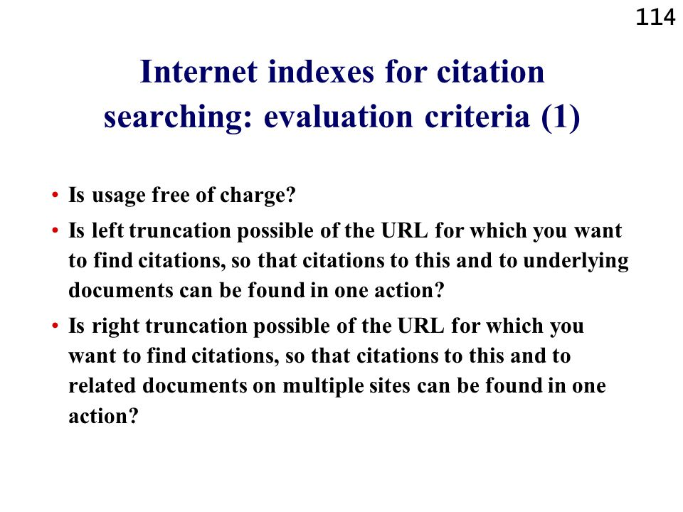 Internet indexes for citation searching: evaluation criteria (1)