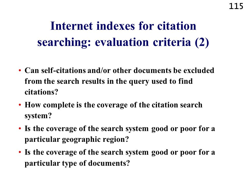Internet indexes for citation searching: evaluation criteria (2)