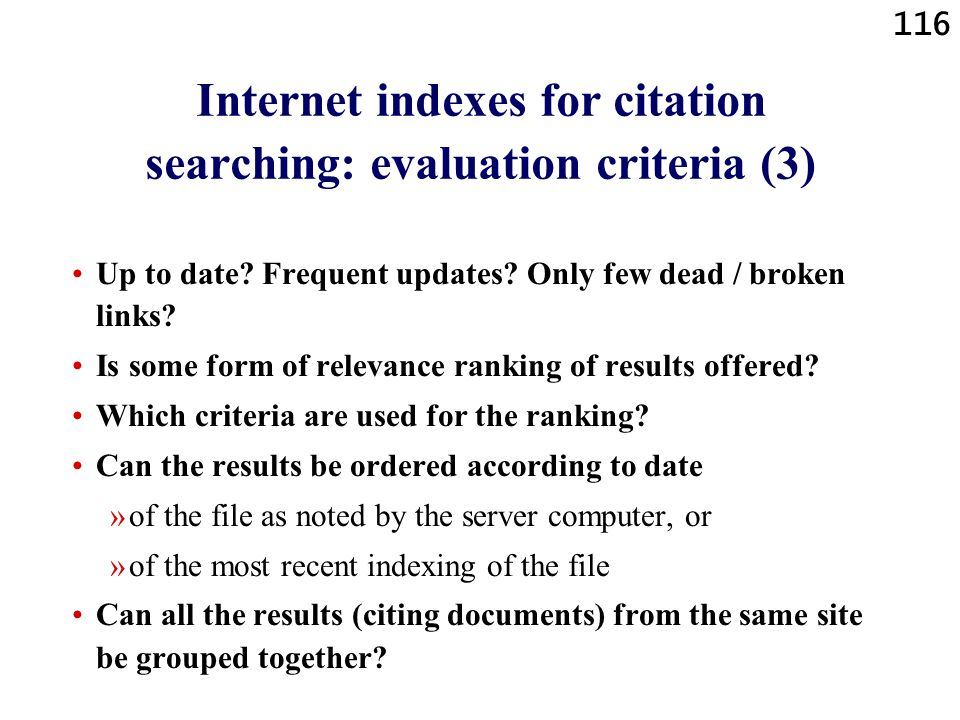 Internet indexes for citation searching: evaluation criteria (3)