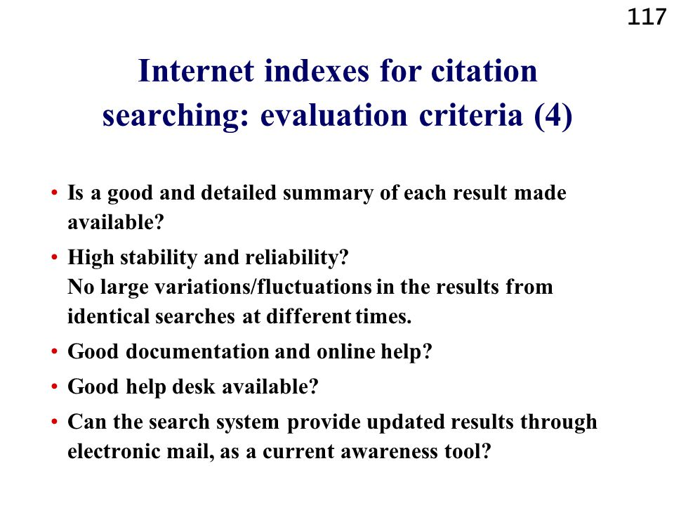 Internet indexes for citation searching: evaluation criteria (4)