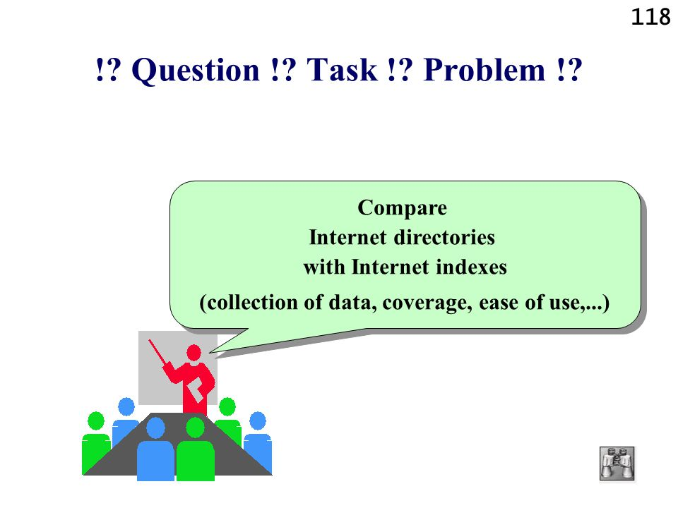 !. Question !. Task !. Problem !. Compare Internet directories with Internet indexes.