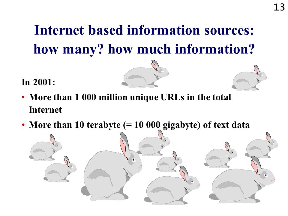 Internet based information sources: how many how much information